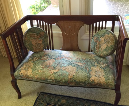 Early Sheraton Queen Anne Settee with Mother-of-Pearl Inlay with Tall Back & Arms