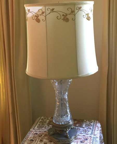 Antique Cut Crystal Floral Lamp with Silver Plated Filigree Base