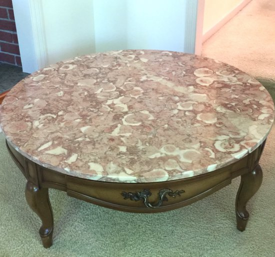 Early Round Maple Coffee Table with Drawer & Rose Marble Top Made in Italy