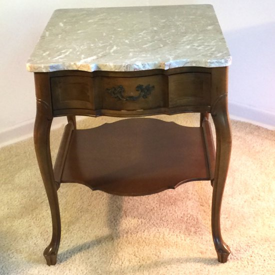Early Maple End Table with Marble Top & Single Dovetailed Drawer
