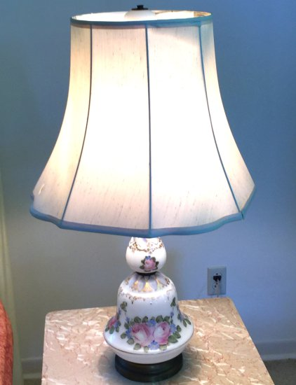 Antique Porcelain Lamp with Rose Accent