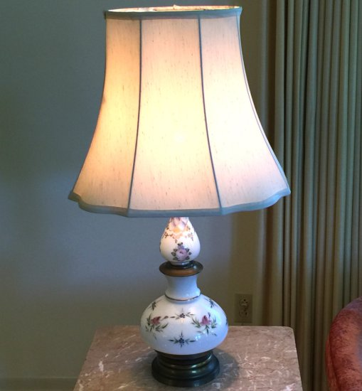 Vintage Porcelain Floral Lamp