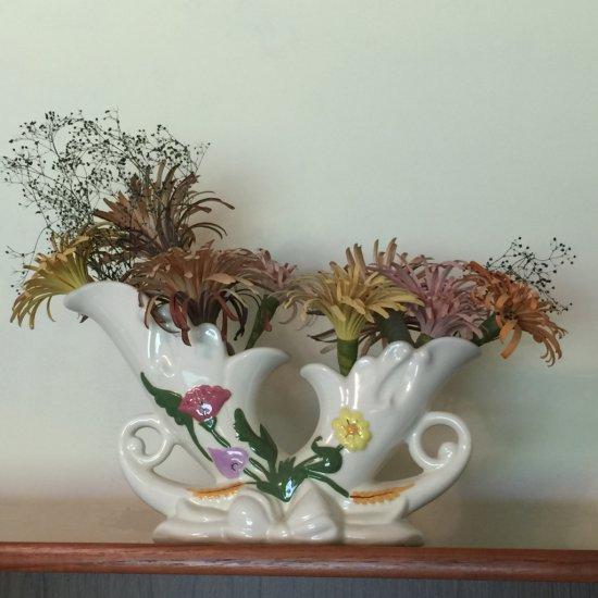 Vintage Ceramic Hand Made & Painted Double Cornucopia Planter Made in Trinidad