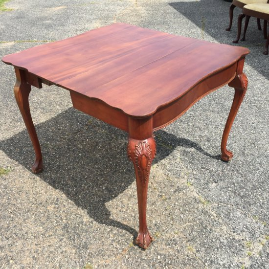 18th Century Rectangular Fold Over Card Table with Chippendale Style Carved Legs
