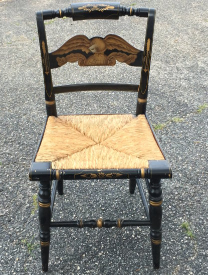 Early Ethan Allen Black Hitchcock Eagle Rush Seat Chair