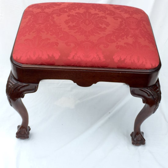 Upholstered Ottoman with Chippendale Style Carved Legs & Ball Feet