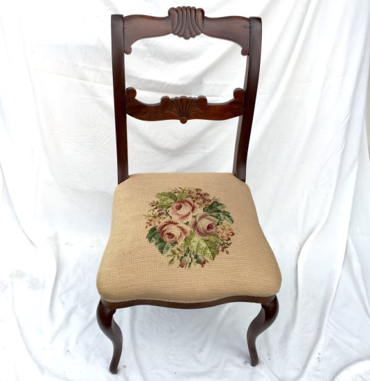 Mahogany Carved Back Saber Leg Parlor Chair with Rose Needlepoint Cushion