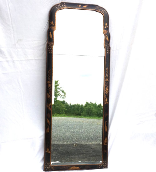 Vintage Wooden Black with Gold Oblong Wall Mirror
