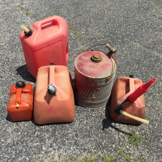 Large Lot of Gas Cans