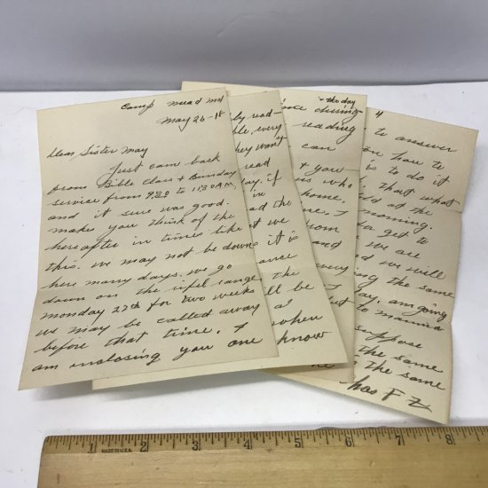 World War 1 Letter Dated May 26th 1918 (4 Pages) From Soldier to Home