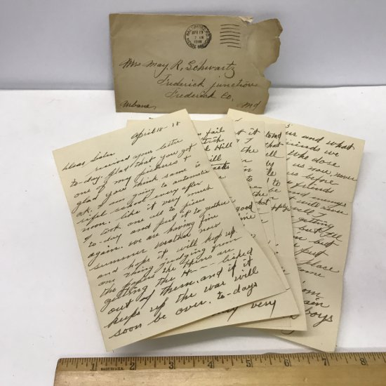 World War 1 Letter Dated April 18, 1918 (5 Pages) w/Envelope From Soldier to Home