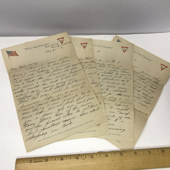 World War 1 Letter (4 Pages) Dated Dec 20, 1917 From Soldier to Home Written on YMCA Stationary