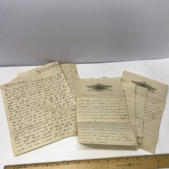 World War 1 Letters From Soldier to Home Date 10/7/17 & 4/10/18