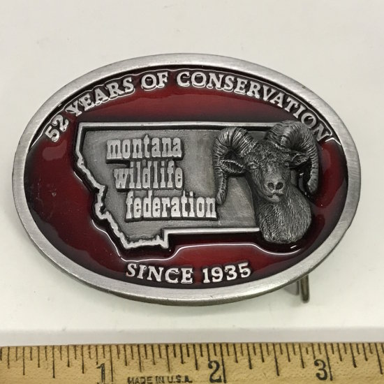 Red Enamel Montana Wildlife Federation Limited Edition Belt Buckle No. 13 of 250