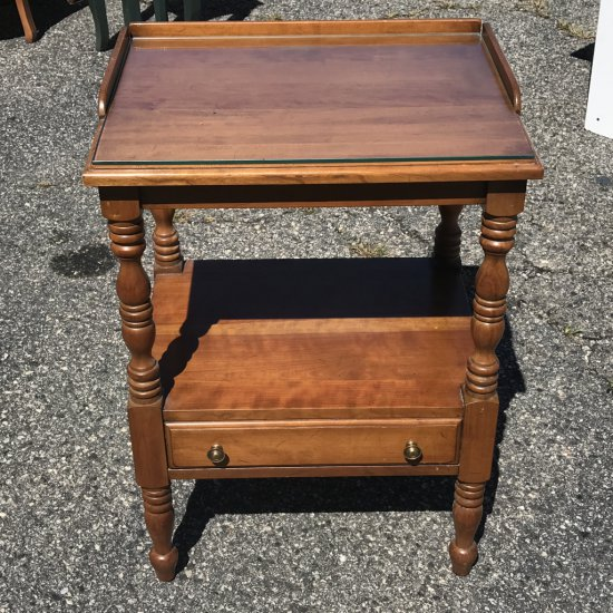 Vintage Solid Cherry 2-Tier End Table with Lower Drawer