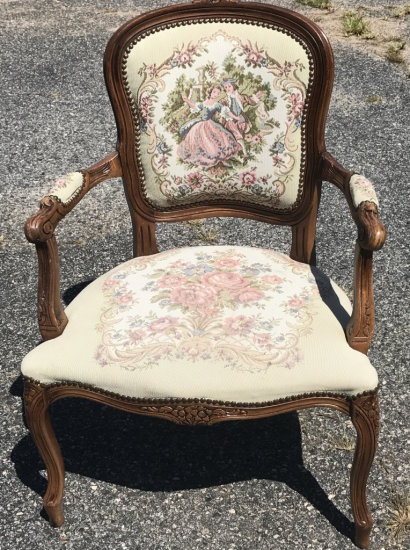 Vintage French Provincial Style Carved Wood Accent Chair with Victorian Tapestry Design