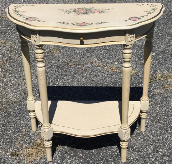 Pretty Demilune Table with Crackle Finish, Single Drawer & Rose Design Top