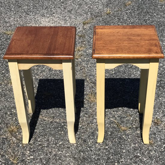 Pair of Short Wooden Plant Stands