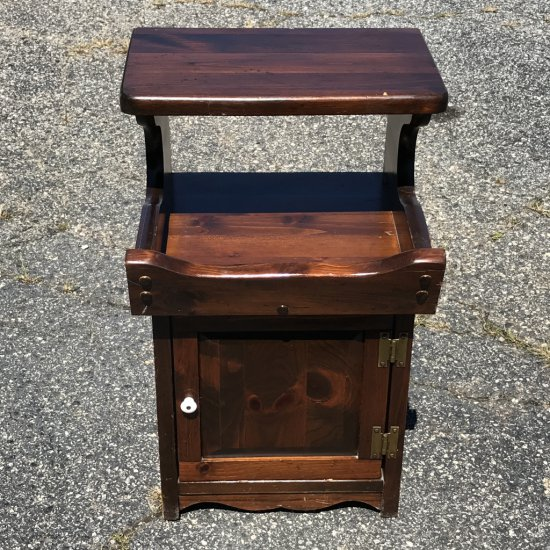 Vintage Step Back Side Table with Lower Cabinet & Open Back