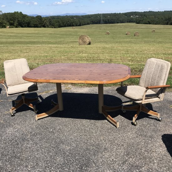 Vintage Wood & Metal Dining Table with 2 Upholstered Chairs on Casters