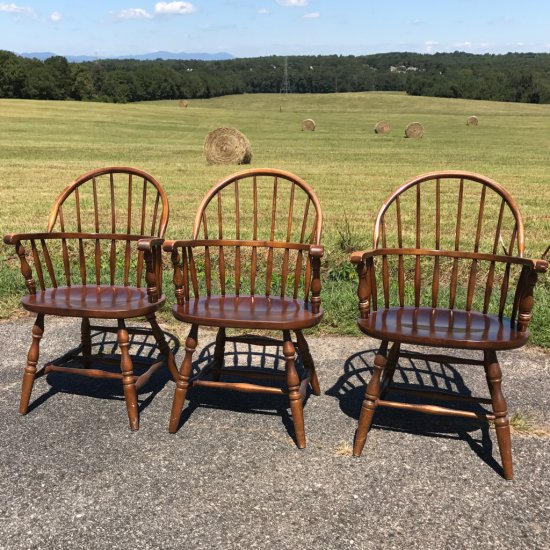 Set of 3 Vintage Sack-Back Windsor Chairs