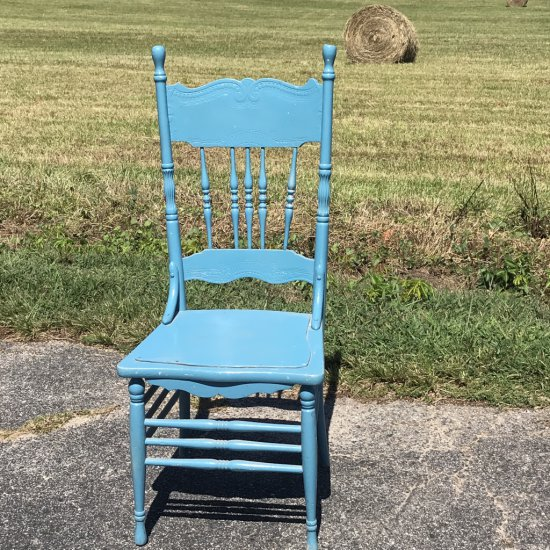 Vintage Painted Pressed Back Oak Chair