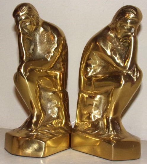 "Pair Brass Bookends ""The Thinker"""