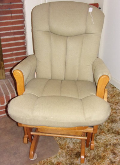 Maple Glider w/ Upholstered Arms, Seat & Back