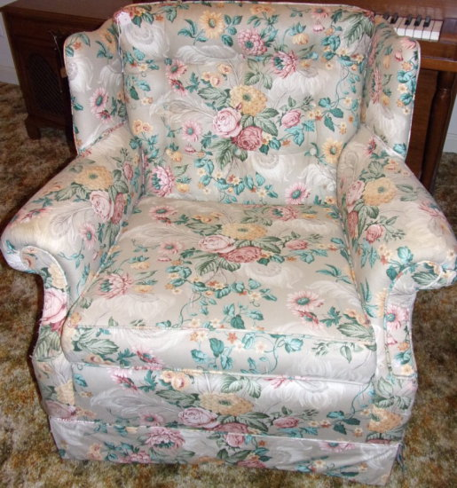 Wingback Easy Chair- Upholstered Floral Pattern