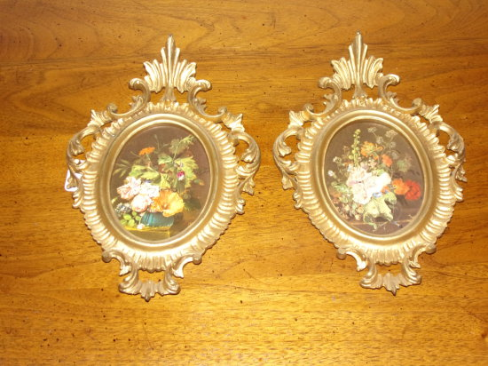 "Pair Victorian Style Prints In Fancy Resin Frames 8 7/8"" x 6"""