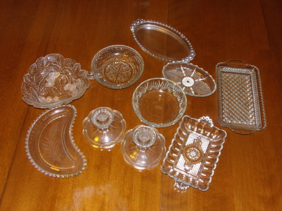 Lot- Misc. Glass- Candlewick, Pressed & Crystal