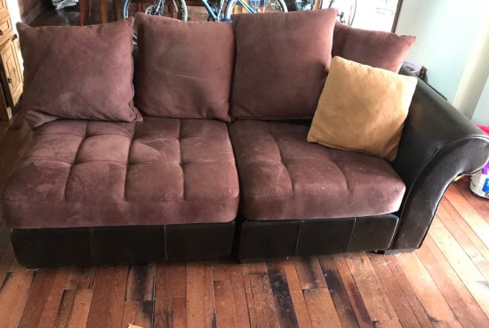 2 Pc. Leather Sectional Couch w/Pillows