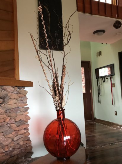 Large Round Red Glass Vase w/Twig Arrangement