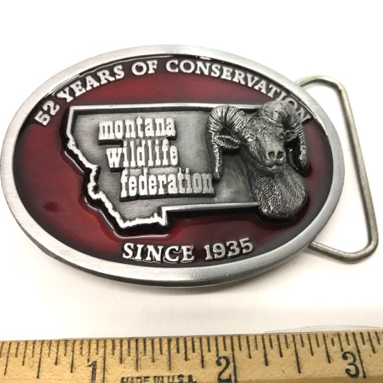 Montana Wildlife Federation 52 Years of Conservation Enamel Heavy Pewter Belt Buckle