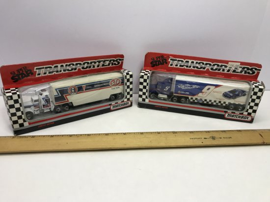 Pair of 1990 Matchbox Super Star Nascar Transporters Bill Elliott & Richard Petty