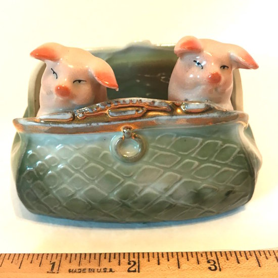 Antique Porcelain German Pink Pigs in a Purse Figurine Circa Late 1800's - Early 1900's