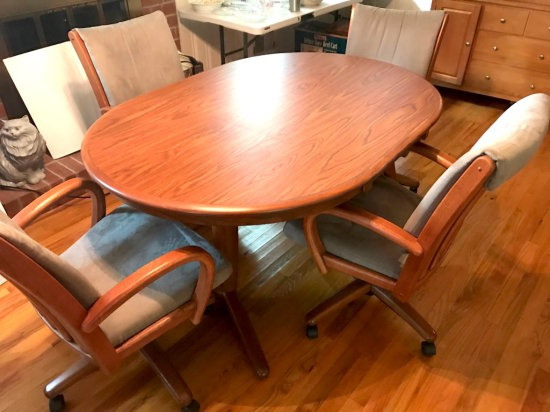 """Awesome Dining Table with 4 Upholstered Chairs on Casters by Chromcraft """"Walter of Wabash"""""""
