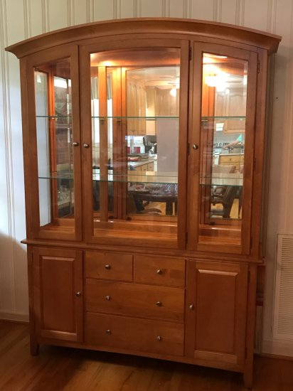 Nice Light Up China Cabinet w/4 Drawers & 2 Cabinets