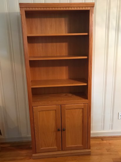 Tall Wooden Book Shelf w/Lower Cabinet