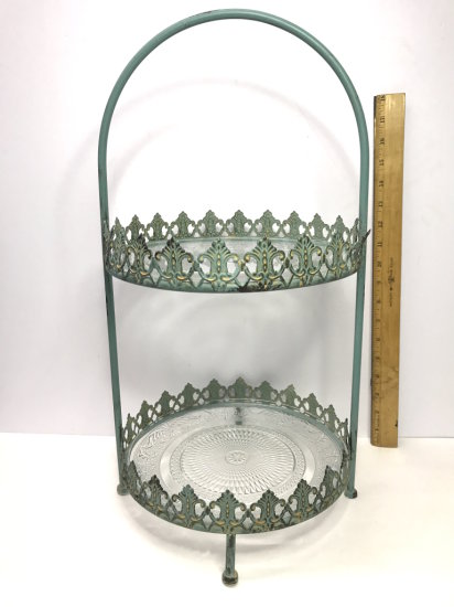 Pretty Antiqued Green Wrought Iron 2-Tier Dessert Server