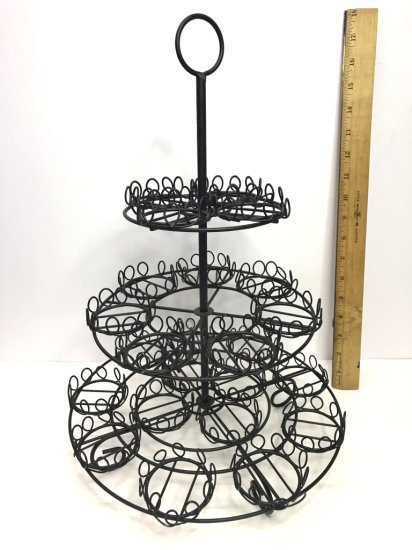 Black Wrought Iron Cupcake Display Tree Holds 24