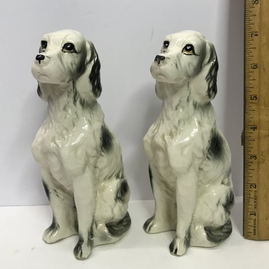 Pair of Adorable Vintage Porcelain Tall Dog Figurines