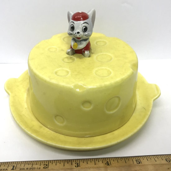 Mid-Century Porcelain Cheese Keeper with Adorable Mouse Popping Out