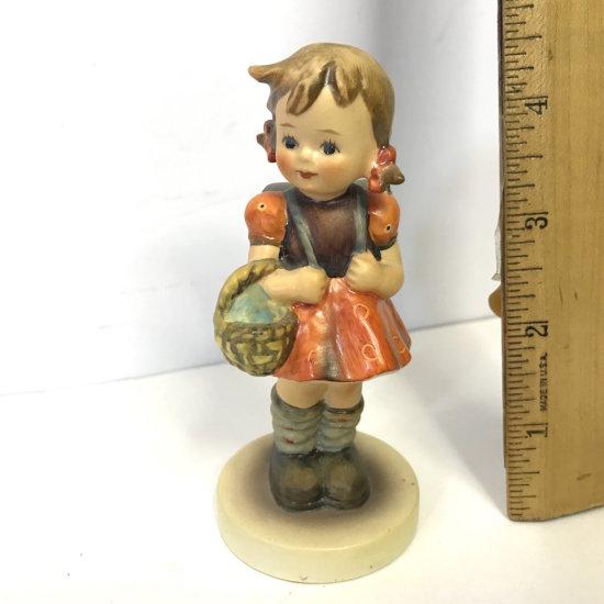 Vintage Goebel W. Germany Girl Figurine Holding Basket with Backpack