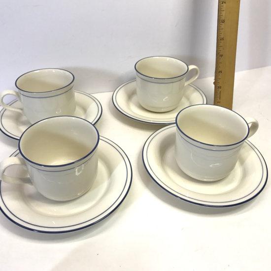 Set of 4 Lenox Chinastone Blue Pinstripes Cups & Saucers