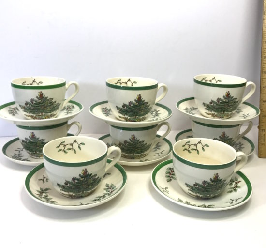 16pc Copeland Spode Christmas Tree Green Trim Cup & Saucers Made in England