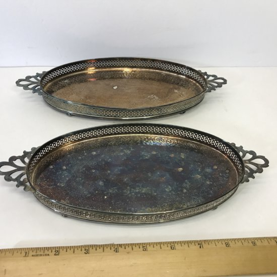 """Pair of """"Crescent"""" Small Oval Double Handled Silver Plated Footed Trays"""