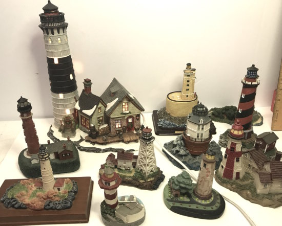 Large Lot of Misc Lighthouse Figurines