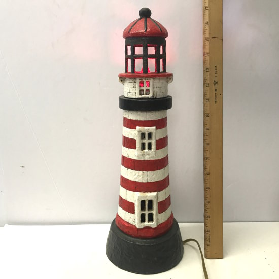 """17"""" Cast Iron Lighthouse with Red Light Bulb"""