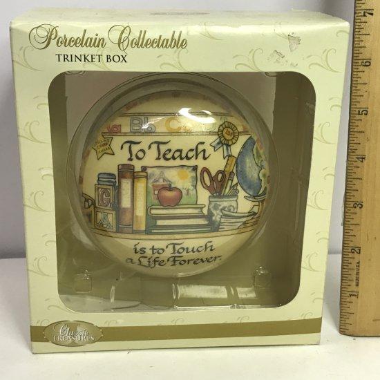 NEW Porcelain Teacher's Trinket Box